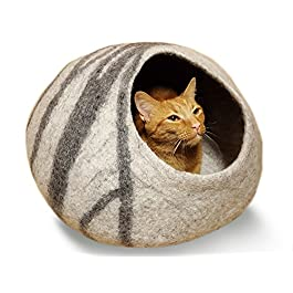 MEOWFIA Premium Cat Bed Cave (Large) – Eco Friendly 100% Merino Wool Beds for Cats and Kittens