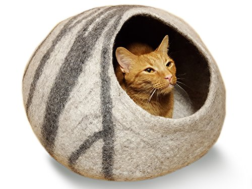 MEOWFIA Premium Felt Cat Cave Bed (Large) - Eco Friendly 100% Merino Wool Bed for Large Cats and Kittens(Light Grey) ()