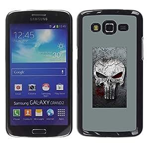 A-type Arte & diseño plástico duro Fundas Cover Cubre Hard Case Cover para Samsung Galaxy Grand 2 (Gray Sancionar cráneo)