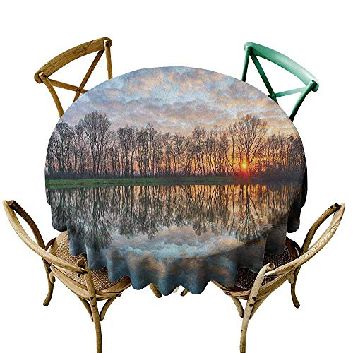 Wendell Joshua Purple Tablecloth 39 inch Landscape,Magical Lake Sunset with The Mirroring Crystal Water and Horizon Over Forest Boho, Multicolor Polyester Fabric Table Cloth