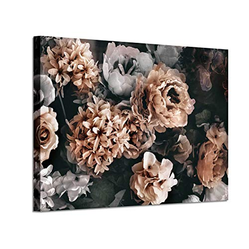 Artistic Path Flowers Bloom Retro Bouquet Painting Print on Canvas, Floral & Botanical Wall Art