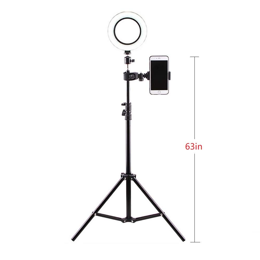 6.3'' Selfie LED Ring Light with Tripod Stand &Cell Phone Holder Desktop Lamp Mini Led Camera Light for YouTube/TikTok Video and Live Makeup/Photography Compatible with iPhone and Android Phone 5W,B,63