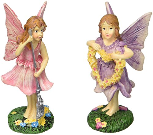 Darice Fairy Figurines - Flower Heart & Broomstick Fairies - 1 Set