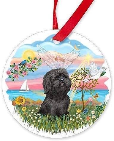 MOR Angelstar-Black Shih Tzu.Png Round Christmas Ornaments Novelty Ceramic Ornaments Hanging for Christmas Decorations (Gold Ornament Png Christmas)