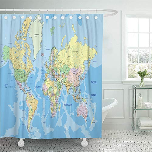 (Emvency Shower Curtain Waterproof Decorative 72 x 78 inches Blue Detail Highly Detailed Political World Map with Labeling Atlas Country Africa Set with Hooks Bathroom Curtain)