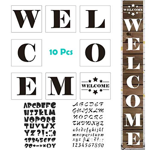 (MX-Amigo 10 PCS/Set:Large Hotel Welcome Sign Stencils - Set of 8 Individual Stencils for Making a DIY Welcome Sign+2 PCS Letter and Number Stencils Alphabet Stencil)