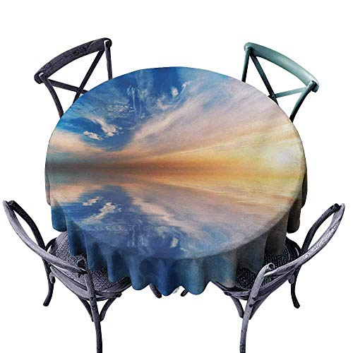 Ficldxc Dust-Proof Tablecloth Nature Dreamy Sky Background with Backward Deepening Clouds Route Summer Serenity Concept Orange Blue Easy to Clean D51 -