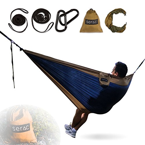 [Durable Hammock & Strap Bundle] Serac Classic Portable Single Camping Hammock with Suspension System - Perfect for the backpack, travel and camping (Desert Brown/Navy)