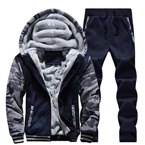 Sport Knit Jacket (Kixing TM Men's Knit Sports Coat Velvet Padded Hoodies+Pants Sweat Suit (Blue, 4XL))