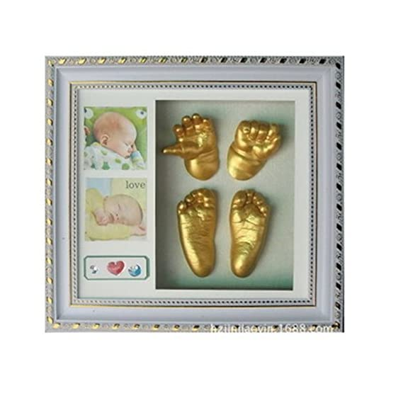 Babies Bloom 3D Baby Hand and Footprint Kit with Photo Frame, Grey/White