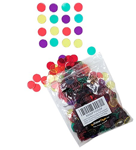 Learning Resources Transparent Color Counting Chips Class Bulk Pack of 600 in Resealable Bag (InPrimeTime Exclusive)