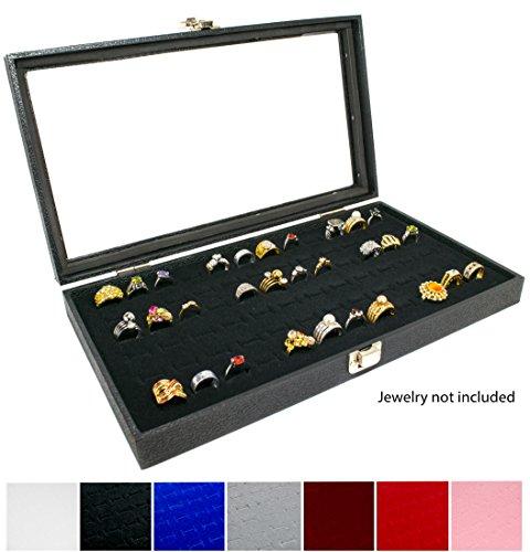 Novel Box Glass Top Black Jewelry Display Case + Black 72 Slot Ring Display Insert + Custom NB Pouch