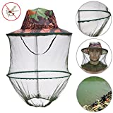 1 Piece Camouflage outdoor fishing hat Mosquito net Beekeeping Hat Flying Insects Prevention Cap Bucket Hat Bee bug mesh hat - Mosquito Fishing Hat