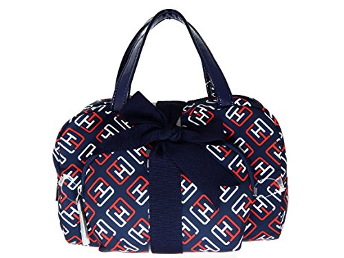 Tommy Hilfiger 2pc Signature Cosmetic Bags (Navy/Red/White)