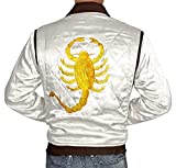 Mens Quilted Bomber White Satin Jacket | Drive Scorpion - XL