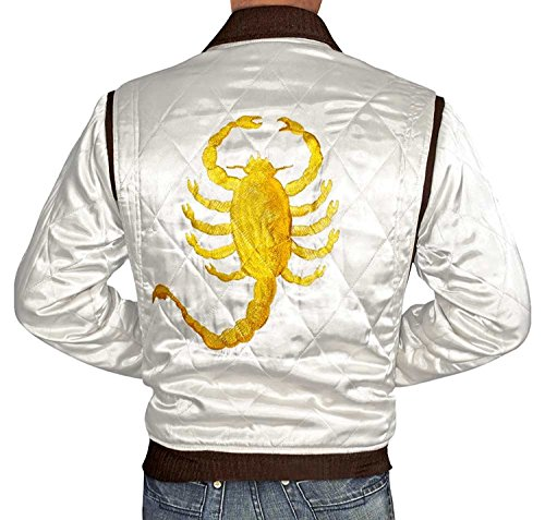 Drive Jacket Golden Scorpion Ryan Gosling Ivory Satin, used for sale  Delivered anywhere in Canada