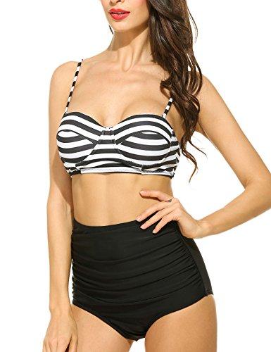 Aimado trajes de baño bikiní de las mujeres de estilo halter Cintura Alta con Lunares o estampado de rayas de negro y blanco cuenta con bra efecto Push Up para la playa Negro