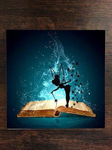 Magic Spell Book with Cute Fairy Silhouette Design Print Image One Piece Premium Ceramic Tile Coaster 4.25