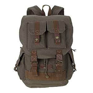 Koolertron Canvas DSLR SLR Camera Shoulder Bag Backpack Rucksack Bag With Waterproof Cover For Sony Canon Nikon Olympus