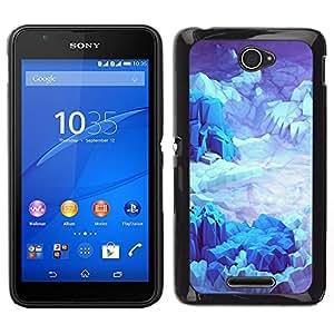 Sony Xperia E4 Único Patrón Plástico Duro Fundas Cover Cubre Hard Case Cover - Iceberg Planet Space Terrain Blue