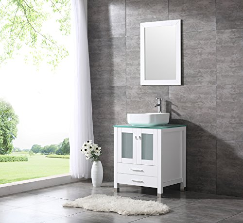 24in Vanity (BATHJOY 24 Inches Bathroom Vanity Set Wood Cabinet Top Square Ceramic Vessel Sink Faucet Combo with Mirrors)