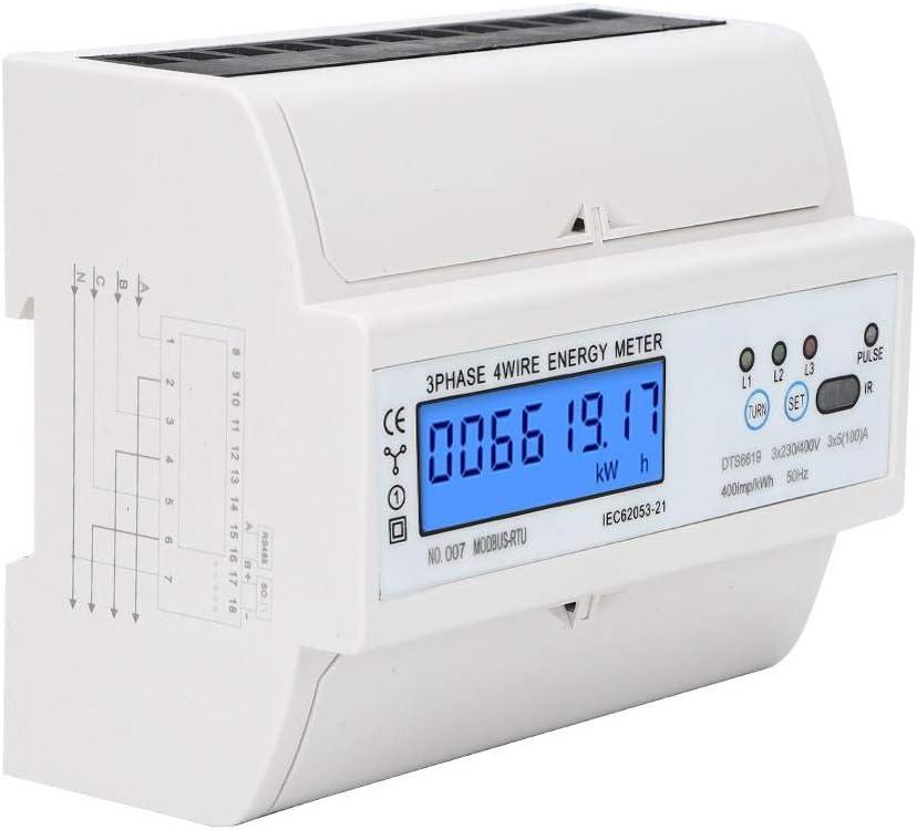DTS6619-017 Medidor de energ/ía trif/ásico de 4 hilos y 7 P Medidor de 380V kWh el/éctrico Medidor de potencia digital con retroiluminaci/ón Pantalla LCD