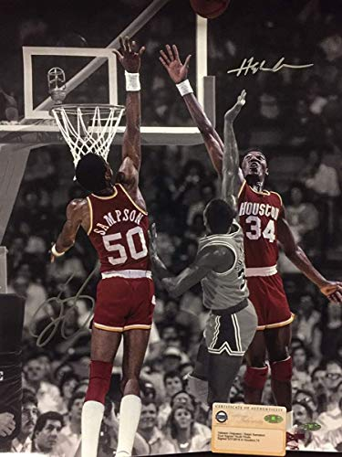 Autographed/Signed Hakeem Olajuwon & Ralph Sampson Houston Rockets 16x20 Basketball Photo Steiner Sports COA