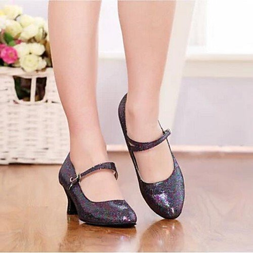 Paillette Women's Heel Sparkling Modern Black Q Shoes Dance T Black Low Glitter T HUawaqO
