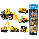 Coolplay 6 Set Inertia Toy Engineering Vehicles Friction Powered Dumper,Bulldozers,Forklift,Tank Truck,Asphalt Car and Excavator for Children Kids