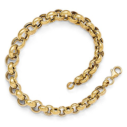 Italian 8.5mm Graduated Rolo Bracelet in 14k Yellow Gold, 8 Inch 14k Yellow Gold Rolo Bracelet