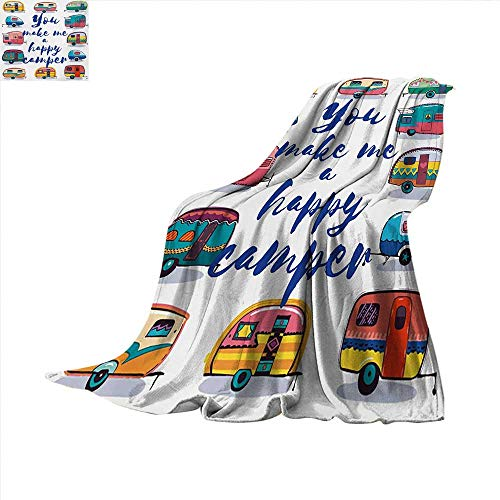 Camper Throw Blanket You Make Me Happy Camper Motivational Quote with Caravans Retro Style Travel Graphic Velvet Plush Throw Blanket 60 x 60 inch Multi ()