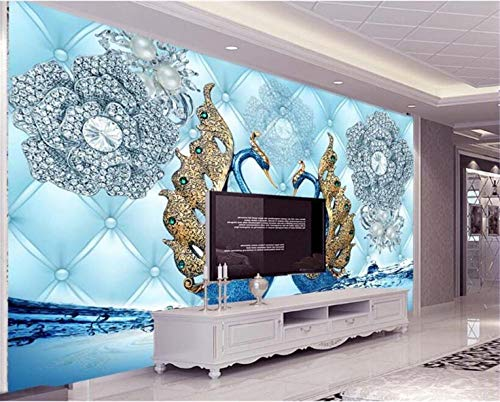 Wallpaper Wall Sticker Wallpaper Luxury 3D Swan Diamond Flower Watermark Jewelry Sofa TV Background 3D wallpaepr for Walls Mural Photo