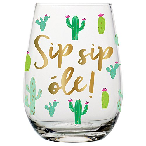 Cactus Wine Glass - Sip Sip Ole - Stemless Wine Glass, 20 oz (Cactus Glasses)