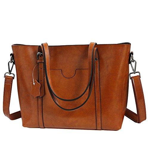 Large Travel Red Size Casual Handbag Body for Bag Brown Ladies Faux Wine Leather Vintage Women Bag Girls Vovoye Cross Shoulder Bag Work Satchels for BwXTq44