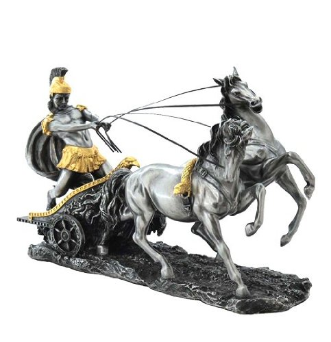 Unicorn Studios WU72011A8 Pewter and Gold Chariot Roman Sculpture from Unicorn