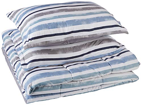 AmazonBasics Comforter Set - Soft, Easy-Wash Microfiber - Twin/Twin XL, Blue Harbor Stripes