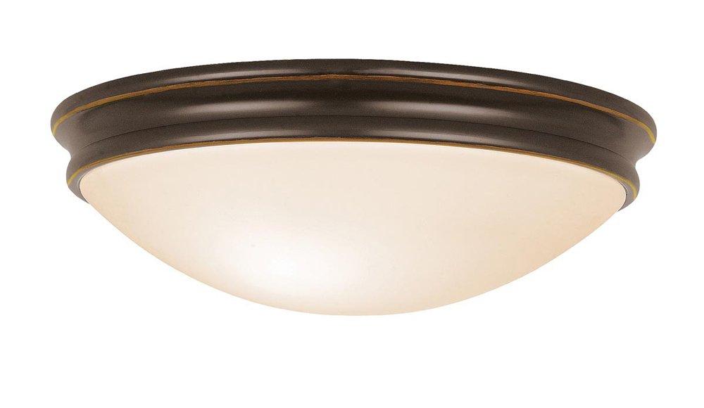 Atom - 3-Light 14'' Flush Mount - Oil Rubbed Bronze Finish - Opal Glass Shade