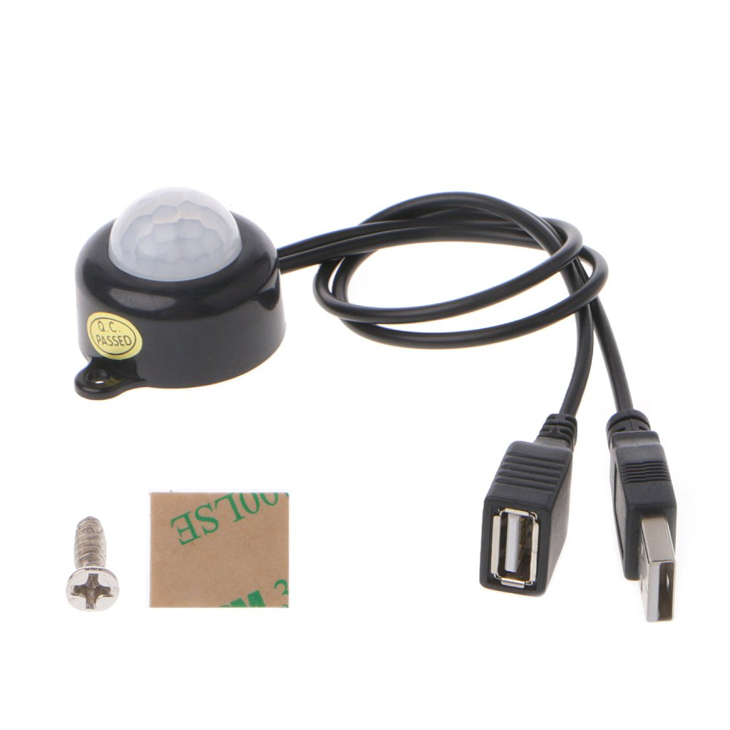 Interruptor de Sensor de Cuerpo Humano de Movimiento infrarrojo PIR infrarrojo Ajustable de Infrarrojos PIR JOKK DC5-24V Blanco