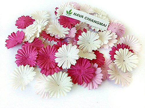 NAVA CHIANGMAI 100 Pink Color Tone mulberry Paper Daisy Flowers Scrapbooking Embellishment Handmade by NAVA CHIANGMAI FLOWERS