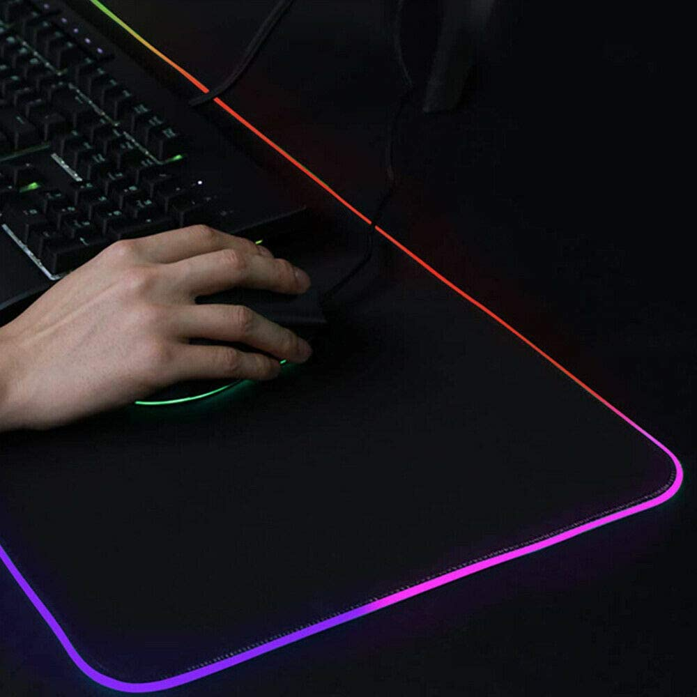 Alician Electronics for RGB Colorful LED Lighting Gaming Mouse Pad Mat for PC Laptop 350x250mm