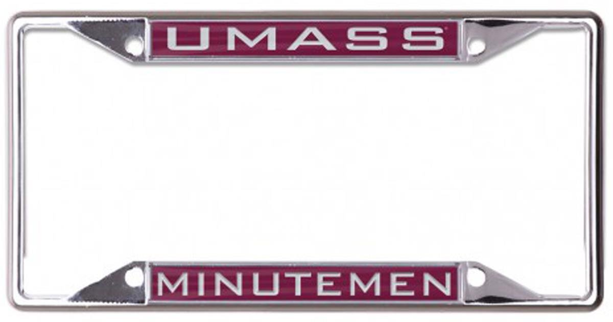 Metal with Inlaid Acrylic WinCraft University of Massachusetts UMass Minutemen License Plate Frame 4 Mount Holes