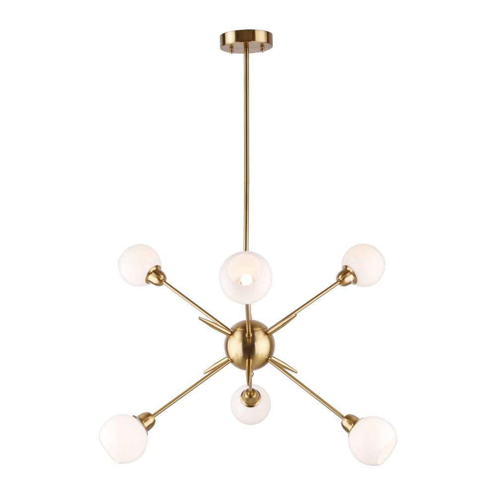 Sputnik chandelier 6 lights vintage pendant lighting fixtures mid century ceiling chandelier brushed brass ul listed amazon com
