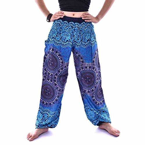 FEITONG Men Women Thai Harem Trousers Boho Festival Hippy Smock High Waist Lantern Yoga Pants(Free Size,Blue) ()
