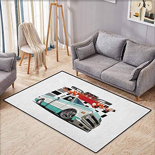 - Living Room Area Rug,Truck,Lowrider Pickup with Racing Flag Pattern Background Speeding on The Streets Modified,Anti-Slip Doormat Footpad Machine Washable,3'11