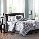 King Size Comforters on Sale King Size Comforter Set in Modern Paisley Prints on Sale - 7 Piece, Purple Gray, 100% Cotton, Flower Damask Allover Design, Plush Heavenly Soft Comforter