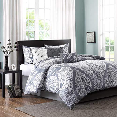 King Size Comforter Set in Modern Paisley Prints on Sale - 7 Piece, Purple Gray, 100% Cotton, Flower Damask Allover Design, Plush Heavenly Soft ()