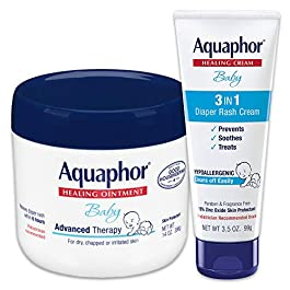 Aquaphor Baby Skin Care Set – Fragrance Free, Prevents, Soothes and Treats Diaper Rash – Includes 14 oz. Jar of Advanced Healing Ointment & 3.5 oz Tube of Diaper Rash Cream