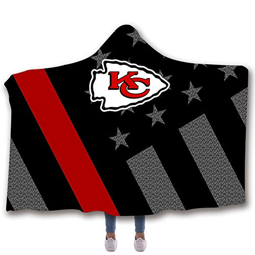 SXELODIE Fashion 3D Hooded Blanket Printed Kansas City Chiefs Team Graphic Hooded Blanket Adult and Child,Adult150(H) X200(W)