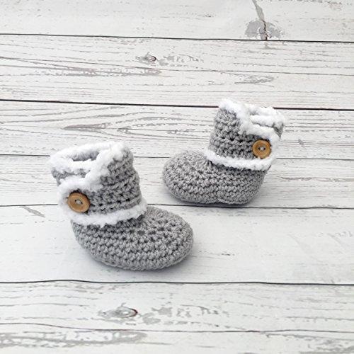 crochet baby booties grey newborn gift, winter boots