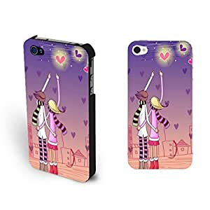 Cute Fancy Love Couple Samsung Note 2 Love Heart Moon Night Drawing Print Case For Samsung Note 2 Cover Skin for Girls
